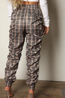 Nude Plaid Side Ruched Windbreaker Joggers