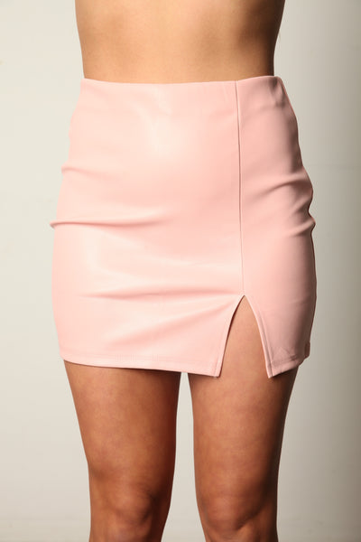 Take Me Anywhere Leather Skirt Pink