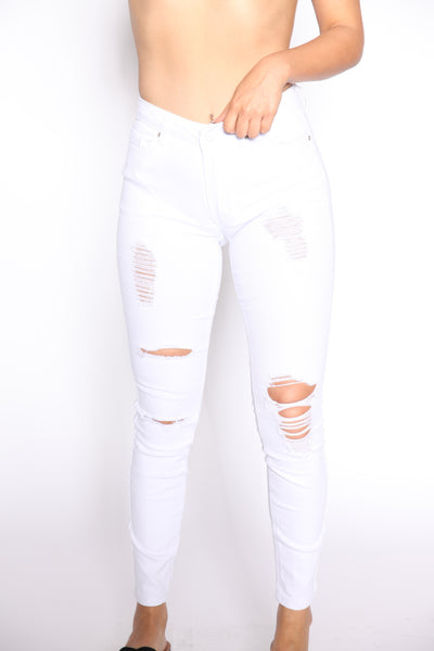 White High Rise Ripped Jeans