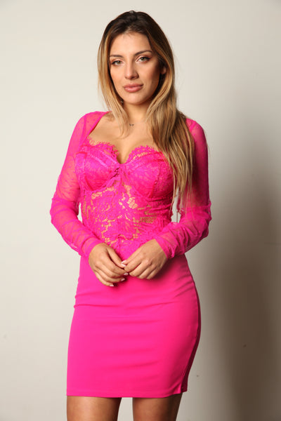 I'm Hot In Fuchsia Lace Long Sleeve Dress