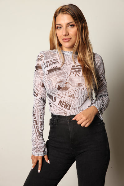 It's All News To Me Mesh Mock Neck Bodysuit