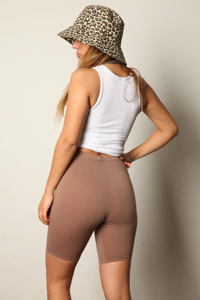 Mocha Cotton Stretch Biker Shorts