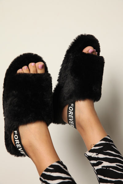 What's The Fuzz About Slingback Slides Black