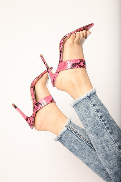 Double Strap Neon Pink Snake Pointy Heels