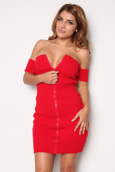 Zip Down Red OTS Dress