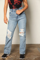 Washed High Rise Wide Leg Distressed Boyfriend Jeans