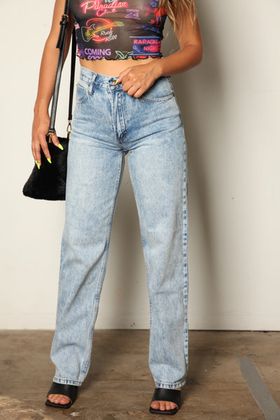 Acid Washed High Rise Wide Leg Boyfriend Jeans