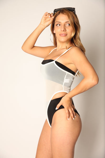 Mesh Hi Cut Bodysuit White
