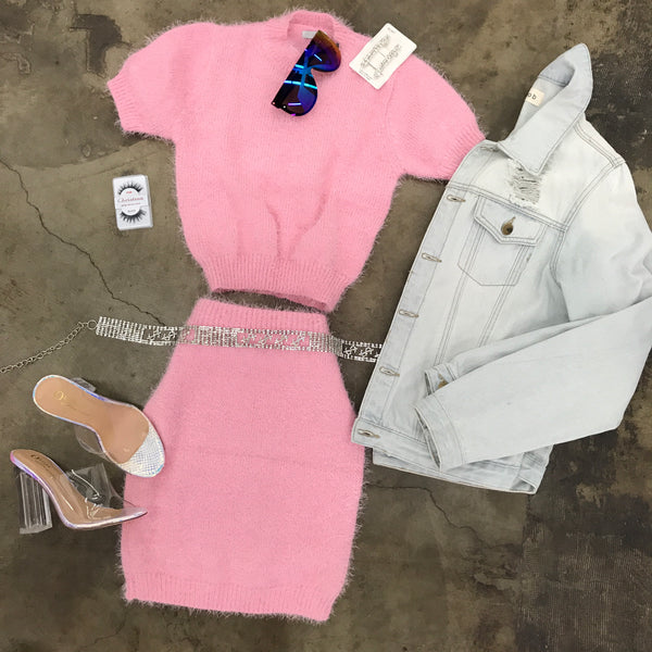 Bubblegum Pink Fuzzy Skirt Set