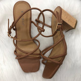 Strappy Brunch Square Toe Chunk Heels Tan