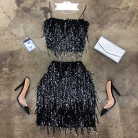 Fringe Sequin 2 Piece Skirt Set