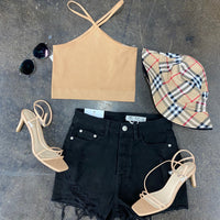 V Collared Extra Stretch Crop Top Mocha
