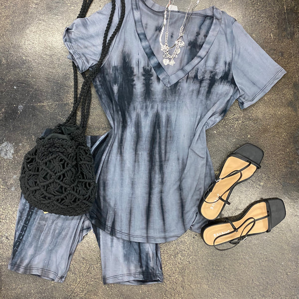 Tie Dye V Neck Matching Biker Short Set