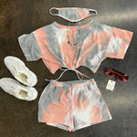 Gray/Pink Tie Dye 3 Piece Short Set w/ Mask