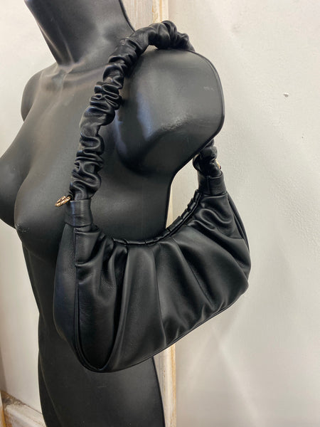 Scrunched Up Shoulder Bag Black