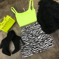 Zebra Printed Mini Skirt
