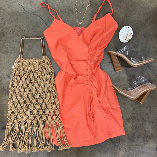 Coral Scrunch Summer Dress