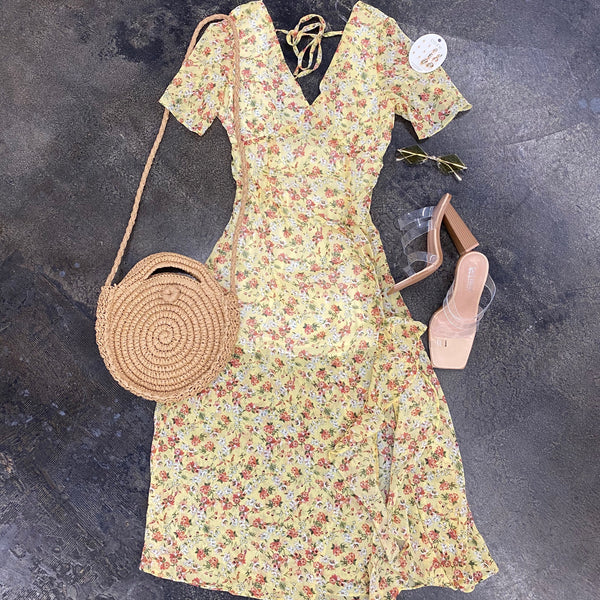 Yellow Floral Tiered Brunch Dress