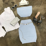 Baby Blue Fuzzy Tube Skirt Set