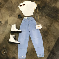 Euro Punk Light Wash Button Jeans