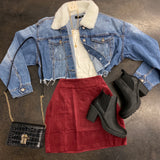 Cropped Fuzzy Collars Denim Jacket