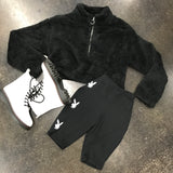 Fuzzy Half Zip Crop Sweater Black