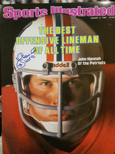 New England Patriot John Hannah Signed 16 x 20 Sports Illustrated cover