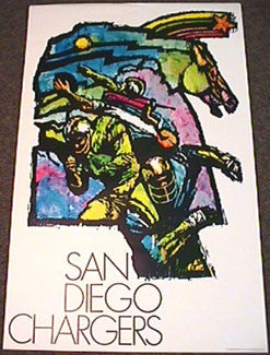 Vintage NFL Poster 1968  San Diego Chargers