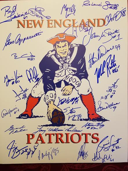 New England Patriots Signed 16 x 20 PAT's logo