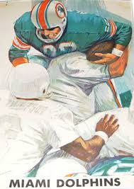 Vintage Dave Boss Miami Dolphins poster 1960's