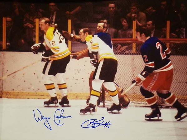 Boston Bruins vs New York Rangers Signed by Cashman and Hodge 16 x 20