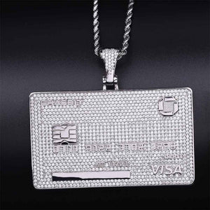 Iced Out CZ Credit Card Pendant & Chain