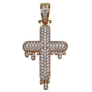 CZ Dripping Cross Pendant and Chain