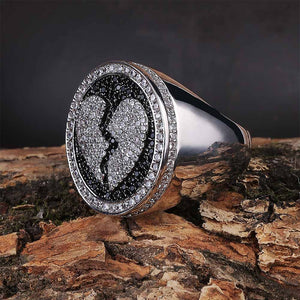 Iced Out Micro Pave Heart Breaker Ring