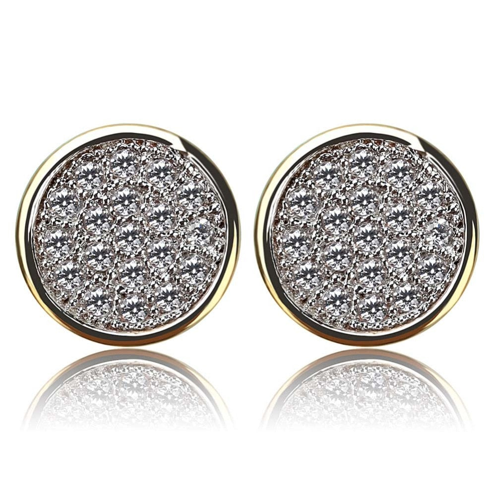 Round Micro Pave CZ Stud Earrings