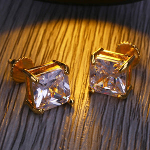 8mm CZ Stone Square Earrings