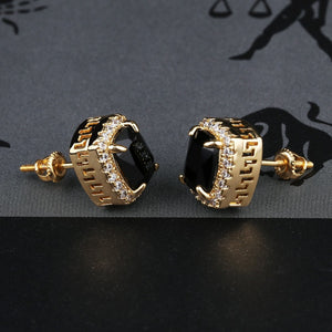 Center Color Stone Stud Earring
