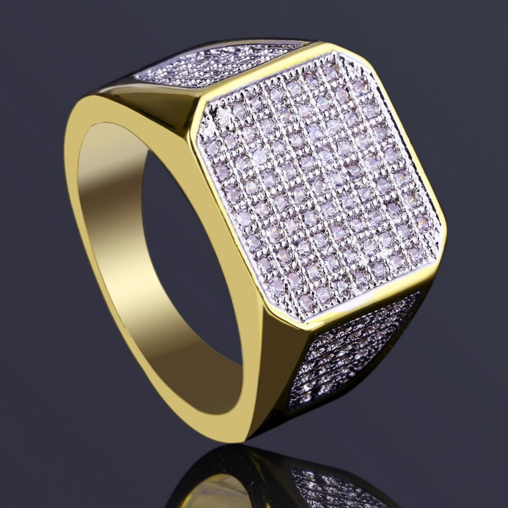 Polished Edge Micro Pave CZ Square Ring