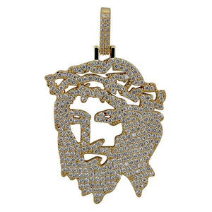 Iced Out Hollow Back Jesus Pendant & Chain