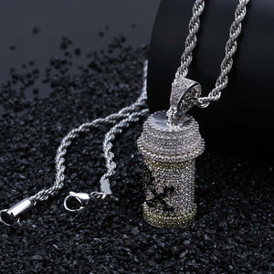 Iced Out CZ Detachable Medicine Bottle Pendant and Chain