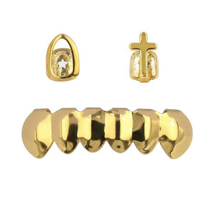 Hollow & Cross Top Caps and Bottom 6 Grillz Set