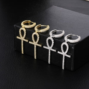 Iced Out Micro Pave Ankh Cross Earrings