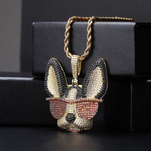 Micro Pave CZ Dog In Glasses Pendant and Chain