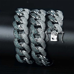 Heavy 18mm Mint Blue CZ Cuban Link