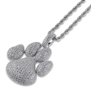 Iced Out Paw Footprint Pendant With Chain