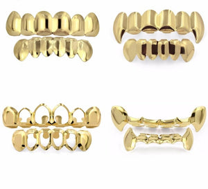 Gold Grillz Top & Bottom Sets with Silicone