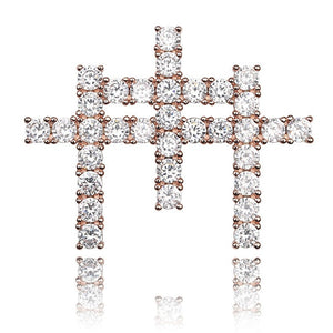 Iced Out Triple Cross Pendant & Chain