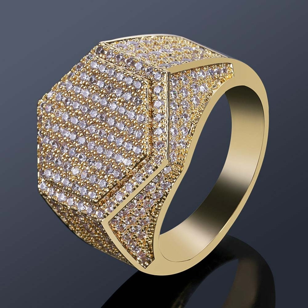 Iced Out Micro Pave CZ Hexagon Ring