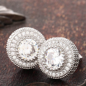 Micro Pave CZ Round Stud Earrings