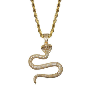 Iced Out Micro Pave Snake Pendant & Chain